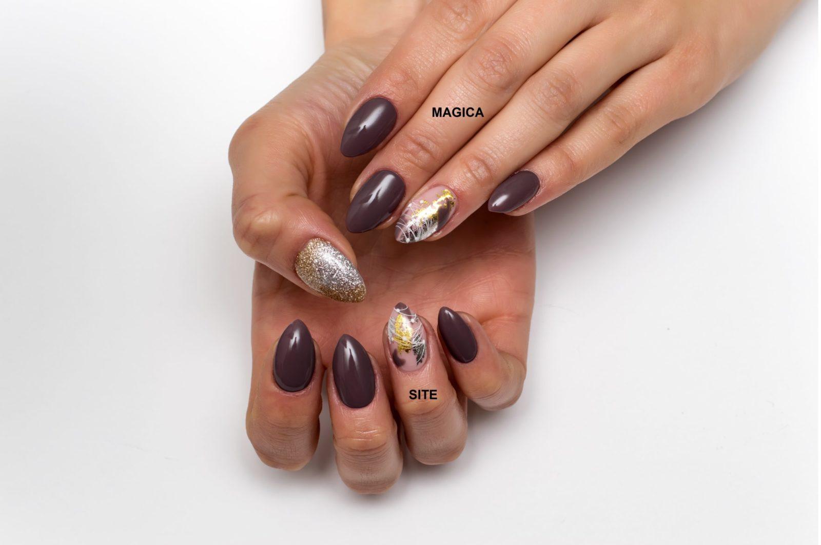 осенний маникюр, комбинированный маникюр, фольга, блестящие ногти, блёстки на ногтях, дизайн ногтей, маникюр 2020