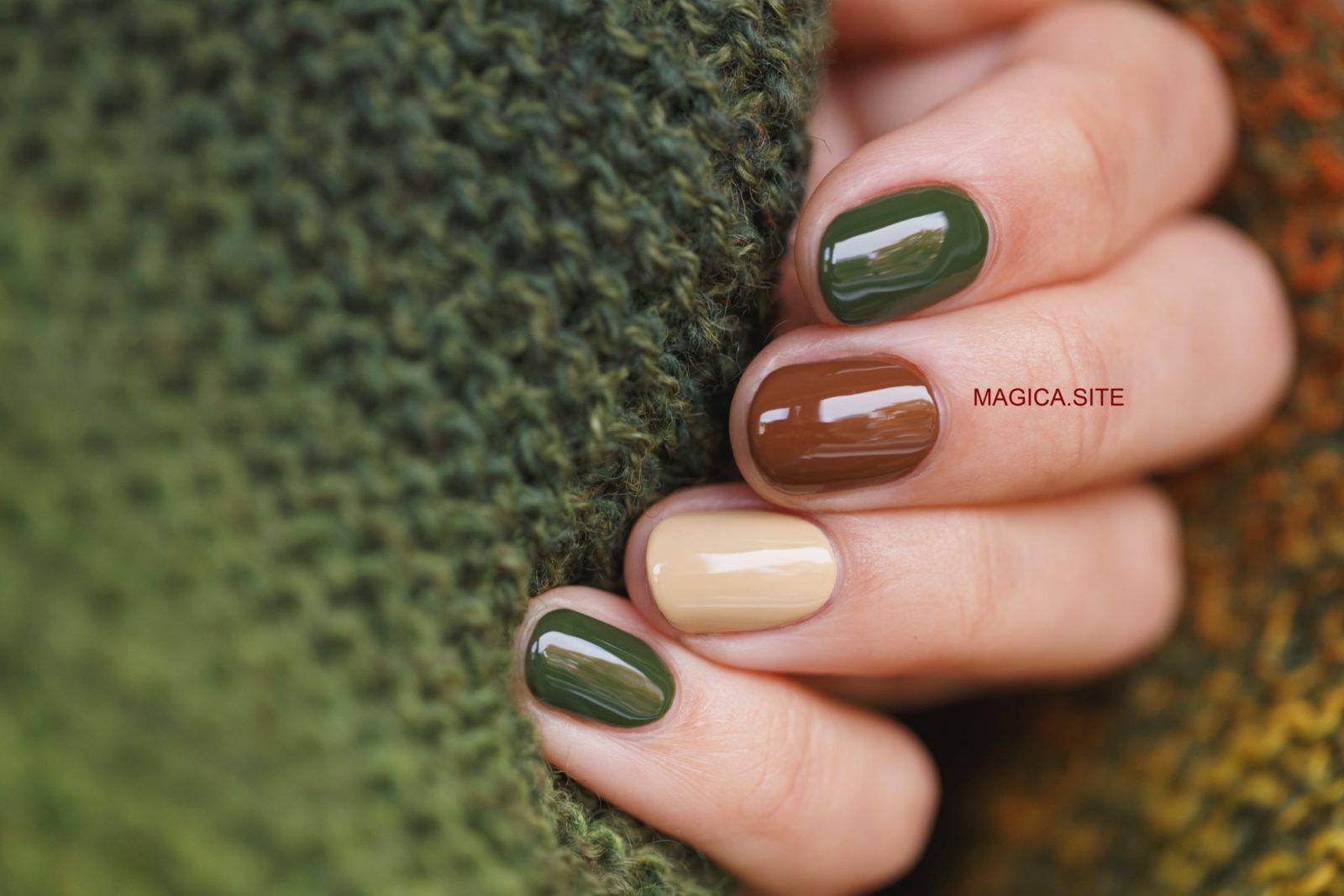 осенний маникюр, комбинированный маникюр, зелёный свитер, бежевые ногти, дизайн ногтей