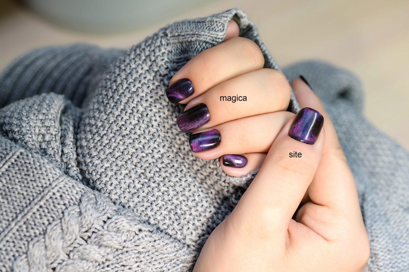 осенний маникюр, ногтевой дизайн, фиолетовые ногти, кошачий глаз, магнитный гель, галактика, блестящие ногти, маникюр 2020, галактический маникюр, серый свитер