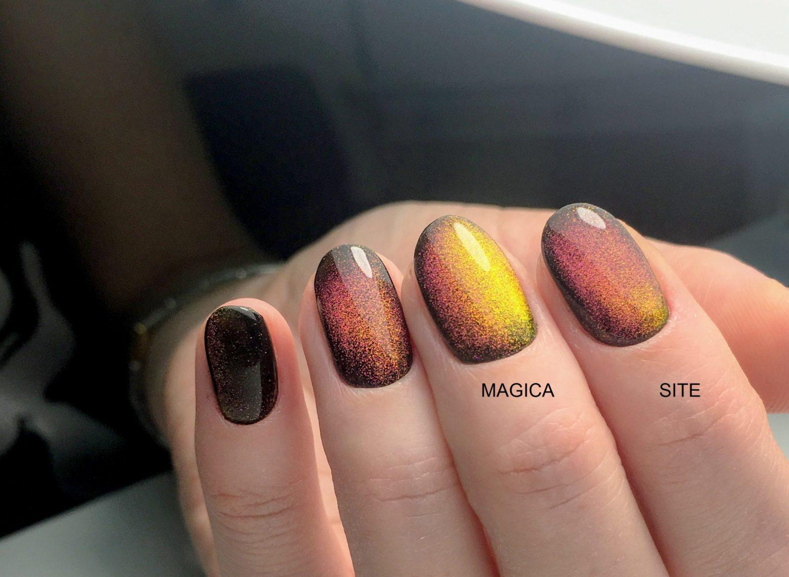 осенний маникюр, ногтевой дизайн, магнитный гель, короткие ногти, кошачий глаз, галактический маникюр, разноцветный маникюр, блестящий маникюр, блёстки на ногтях, маникюр 2020