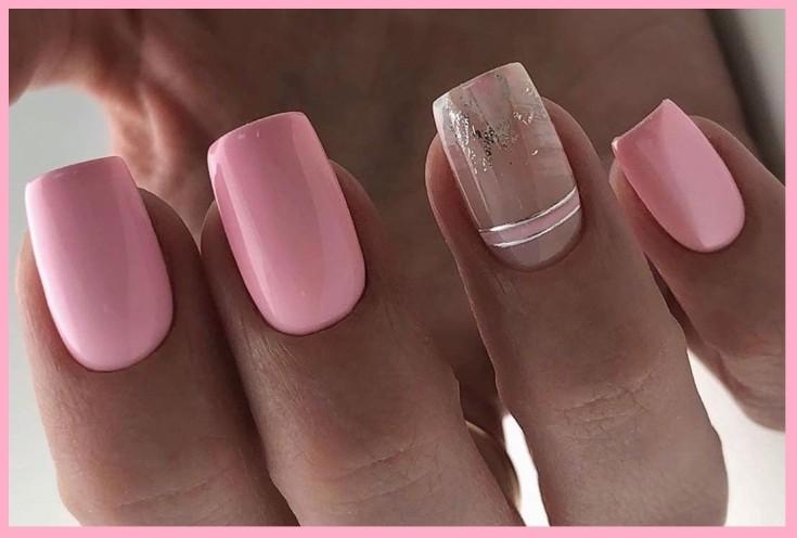 Нежно розовый маникюр с лентами