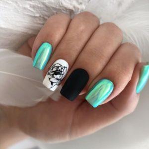 Летний яркий маникюр с втиркой на квадратных ногтях