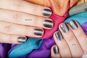 маникюр на короткие ногти, серебряные ногти, металлический маникюр, металлик, серые ногти, маникюр на короткие ногти, радужный шарф, маникюр 2020, осенний маникюр