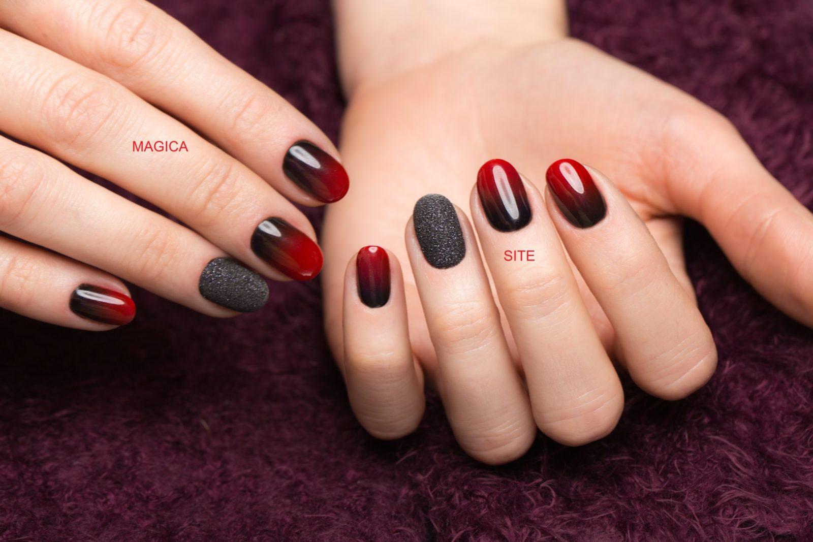 осенний маникюр, комбинированный маникюр, омбре, маникюр градиент, красные ногти, чёрный маникюр, дизайн ногтей, чёрные блёстки маникюр