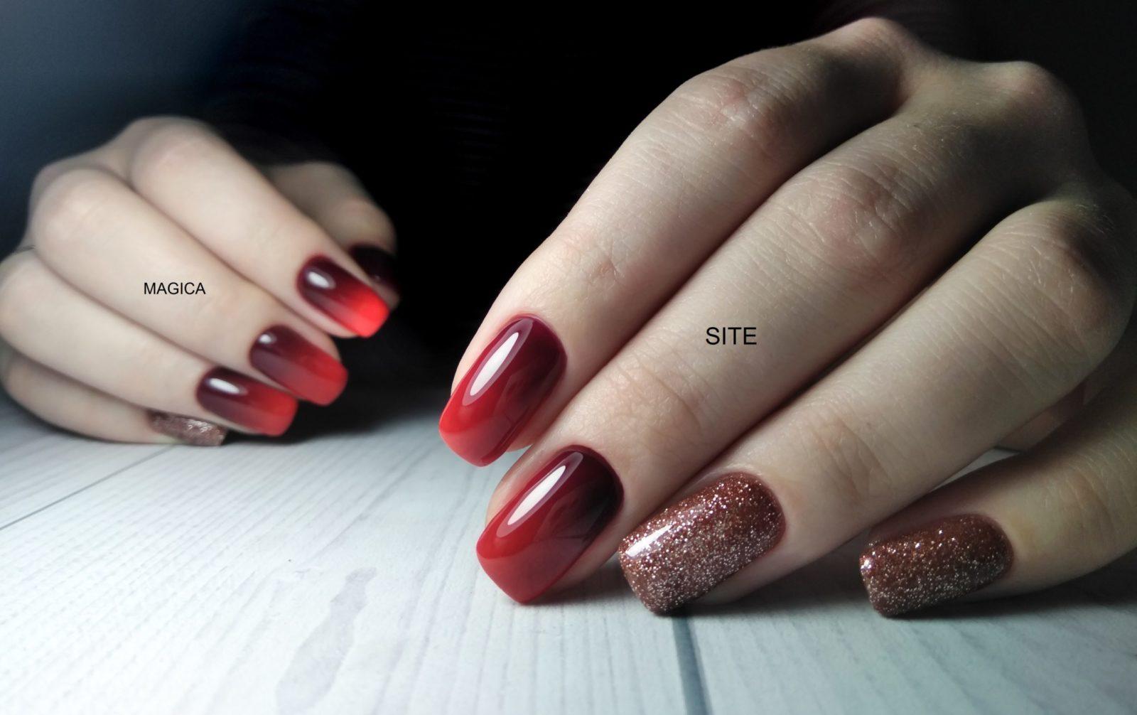 осенний маникюр, омбре, маникюр градиент, комбинированный маникюр, красные ногти, блёстки на ногтях, дизайн ногтей, маникюр 2020