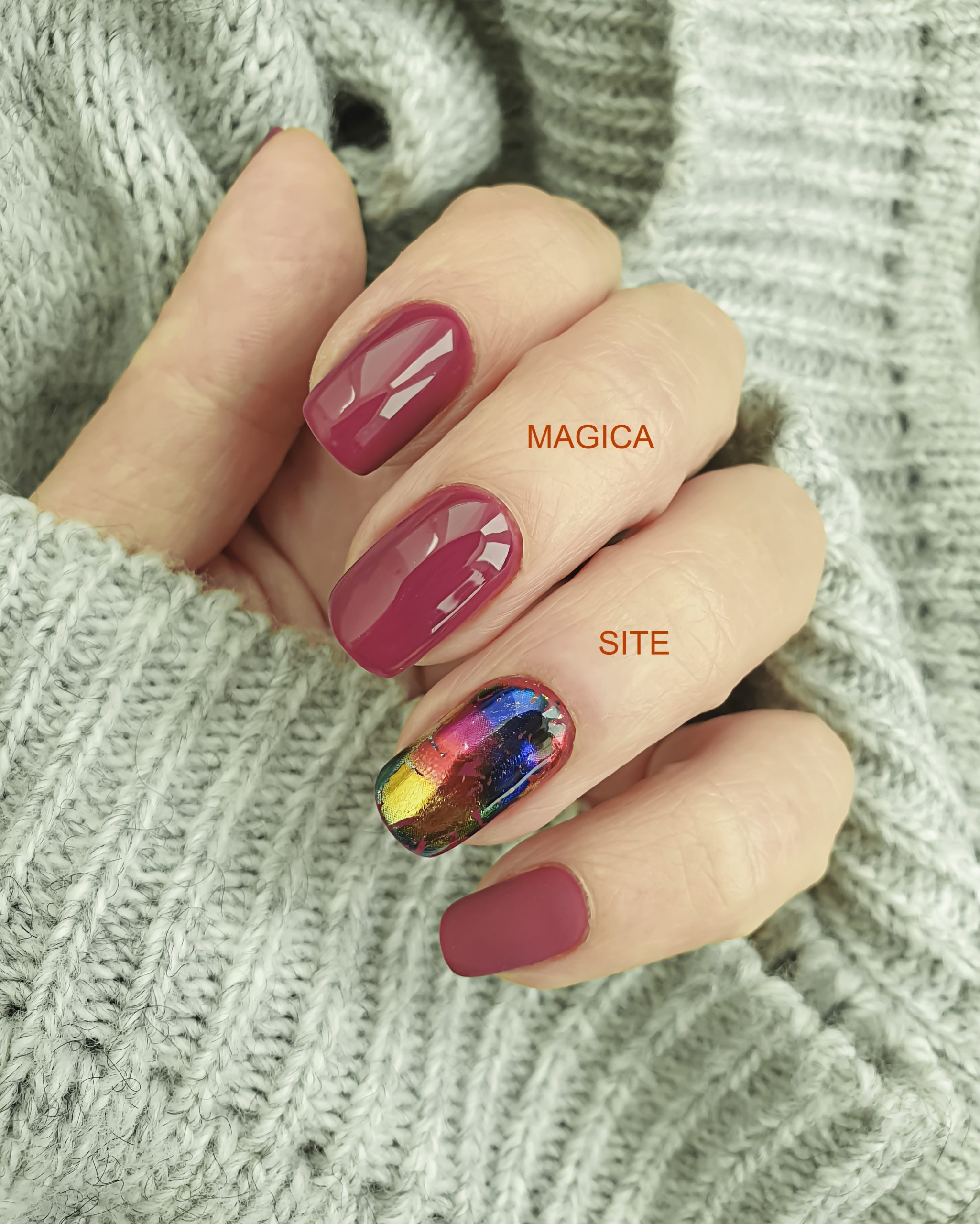 осенний маникюр, красные ногти, цвет фуксия, фольга на ногтях, блестящий маникюр, комбинированный маникюр, дизайн ногтей, маникюр 2020, фисташковый свитер