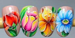 цветочный маникюр, картинки на ногтях, рисунки на ногтях, красивый маникюр, модный маникюр, яркий маникюр, весенний маникюр, роспись ногтей, маникюр 2021