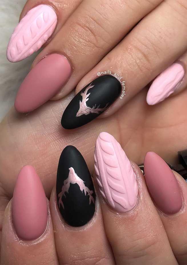 вязаный маникюр, акриловая пудра для ногтей, объёмные ногти, модный маникюр 2021, новогодний маникюр