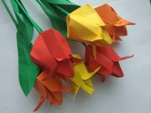 цветы, бумага, оригами, цветы из бумаги, цветы оригами, тюльпаны оригами, тюльпаны из бумаги