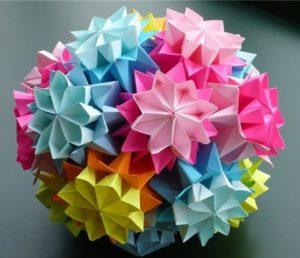 шар из цветов, шар из бумаги, цветочный шар, шар оригами, цветы оригами, цветы из бумаги