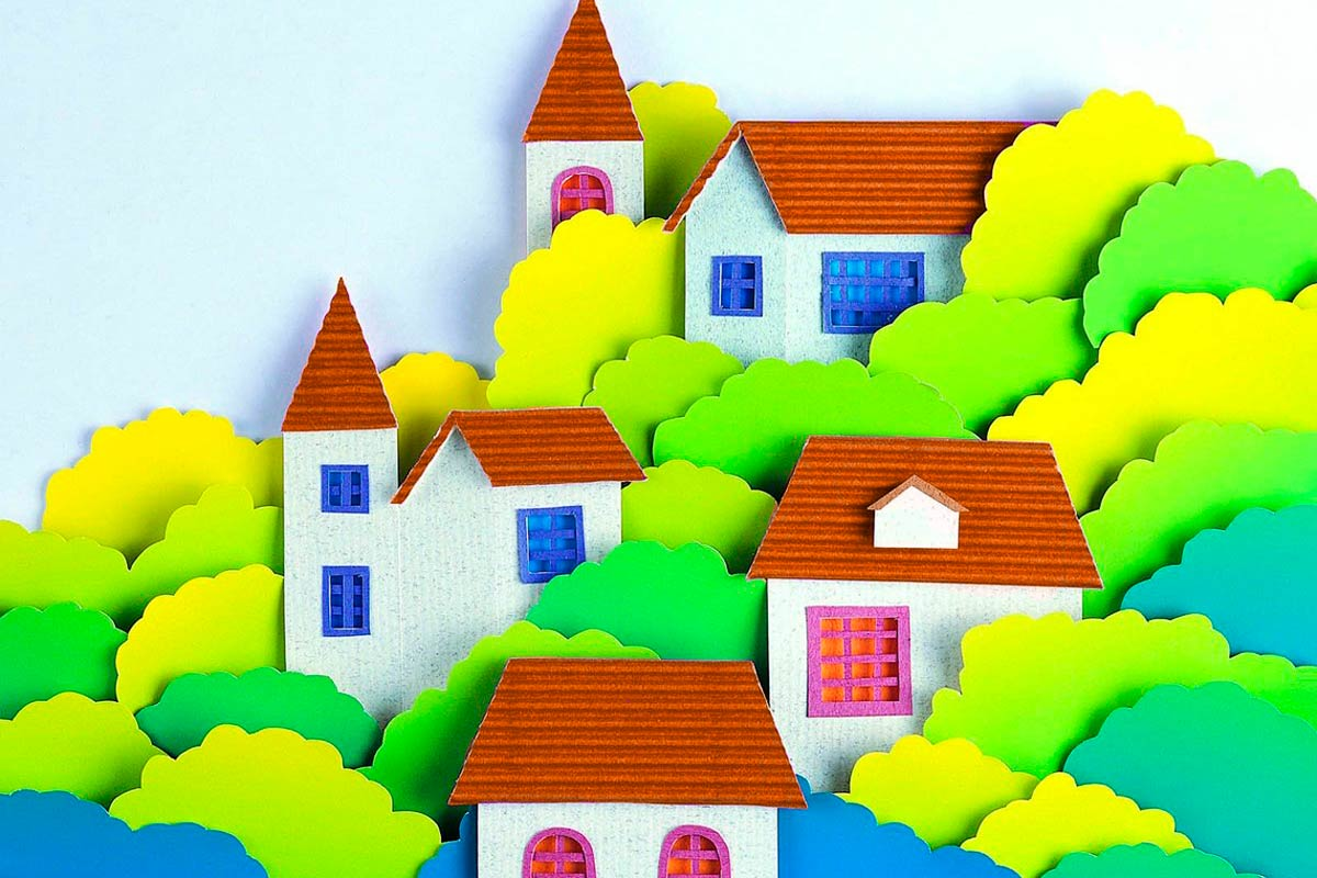 аппликация, бумага, аппликация из бумаги, картина из бумаги, аппликация картина, город из бумаги, дома из бумаги