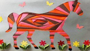 айрис фолдинг картина, лошадь, картина лошадь, картина из бумаги, бумажная лошадь, лошадь из бумаги